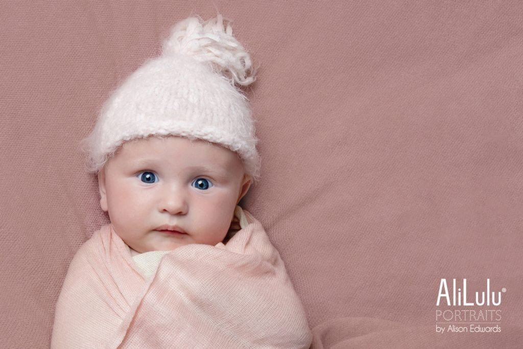 4 month old baby photo of girl swaddled