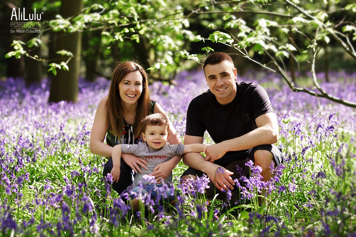 family photo session in bluebell woods