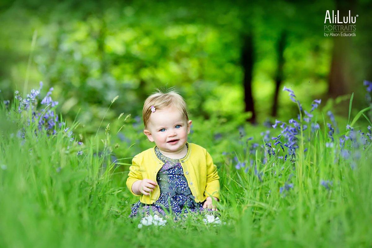 baby girl in bluebell woods nottingham