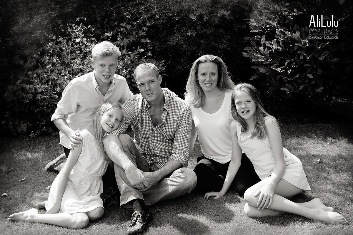 family portrait in garden
